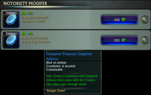 PvP Notoriety Modifier Consume