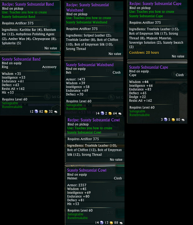 Epic Mage Tank Crafted Gear Recipes