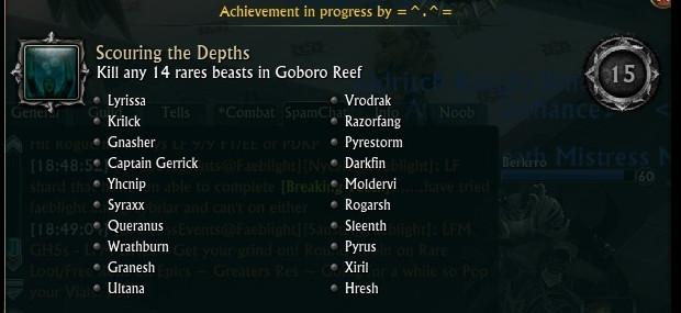 Goboro Reef Rare Mobs Achieve