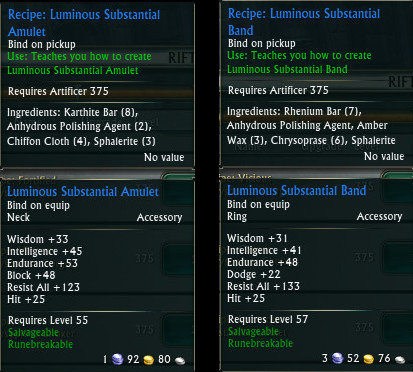 Mage Tank Crafted Gear Ring Amulet