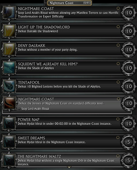 Nightmare Coast Dungeon Achievements PTS