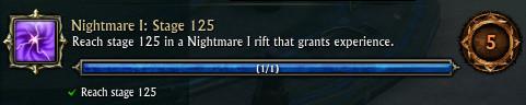 Nightmare Rift Rank 1 Stage 125 Achievement