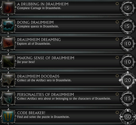 RIFT 3.0 Draumheim Zone Achievements
