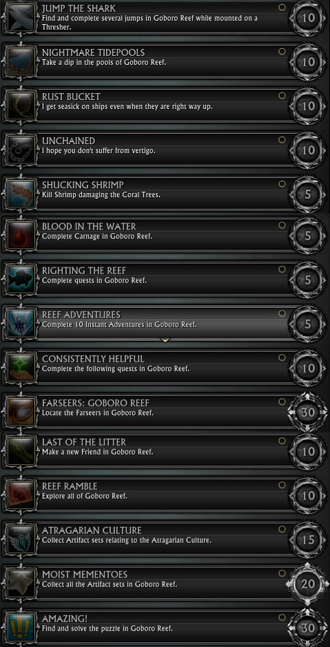 RIFT 3.0 Goboro Reef Zone Achievements