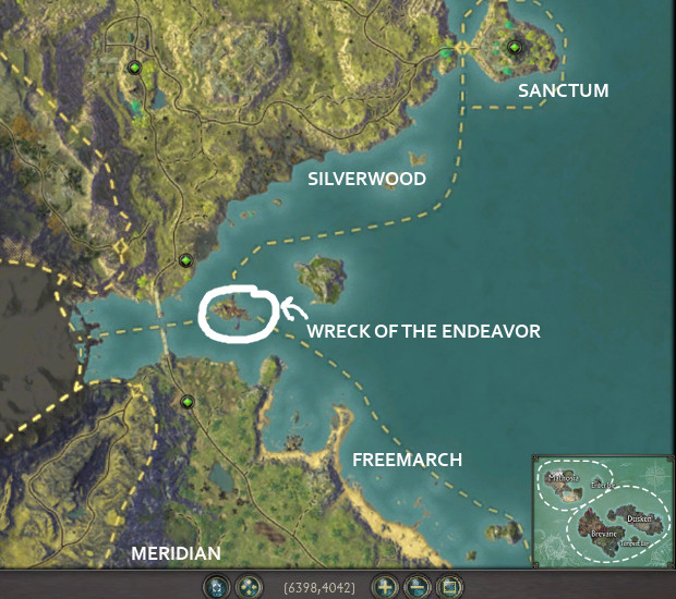 Wreck of the Endeavor Location