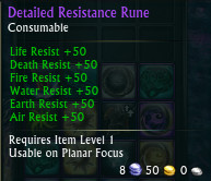 Detailed Resistance Rune Stats