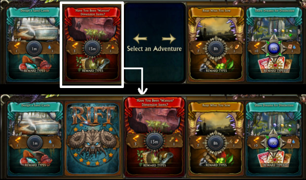 Minions UI Process of selecting Adventure Card