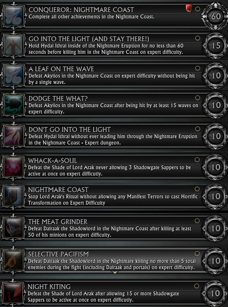 Nightmare Coast Expert Achievements
