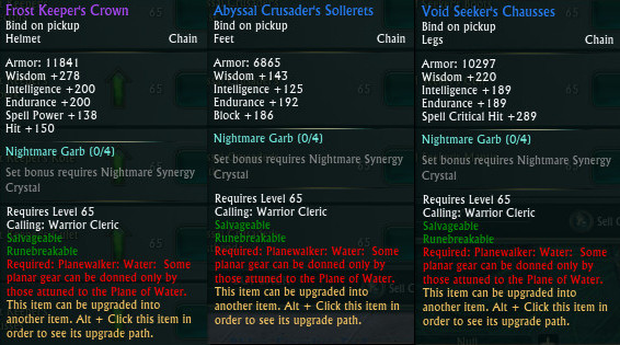 Planewalker Water Attunement Gear Restrictions
