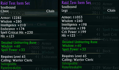 Raid Test Gear Hit on Chest Legs