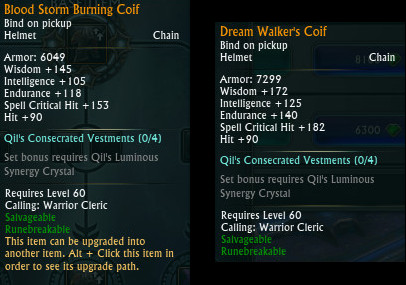 RIFT Upgrade Comparison Blood Storm Dream Walker