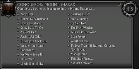 Conqueror Mount Sharax Achievement