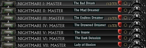 Nightmare Master Achievement Title Rewards