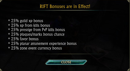 RIFT Bonus 8th Oct