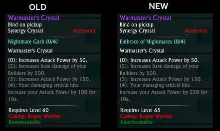 Warrior Rogue Synergy Crystal Changes