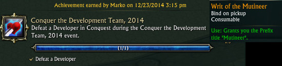 Conquer the Development Team 2014 Achievement