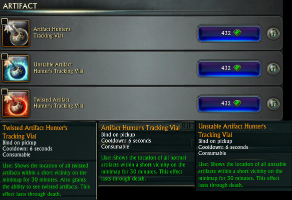 Artifact Tracking Vials Change