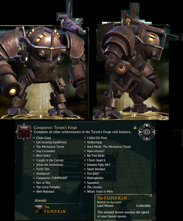 Conqueror Tyrant's Forge PUMPKIN Mount Award
