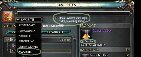 RIFT Crafting Favorites Tab