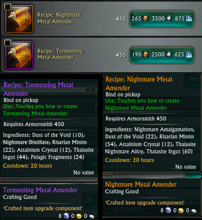 Armorsmith Epic and Relic Amender Recipes