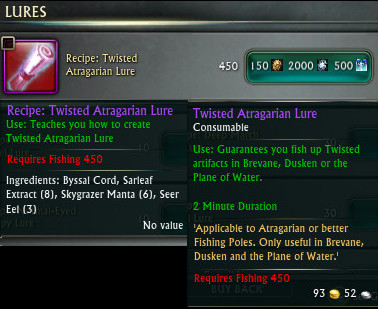 Recipe Twisted Atragarian Lure