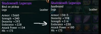 Shadowswift Legwraps PTS Adjustment