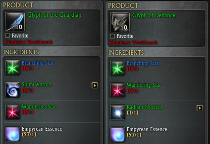 Glyph of the Guardian Defiant Recipes PTS