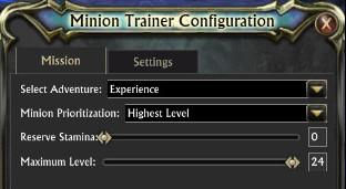 Minion Trainer Settings
