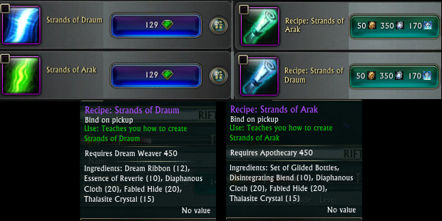 Strands of Draum and Arak Craft