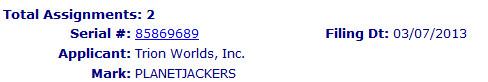 Trademark PLANETJACKERS