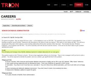 Trion Worlds Senior Database Administrator Careers Page Job Description
