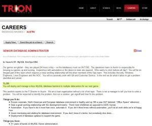 Trion Worlds Senior Database Administrator Careers Page Job Description