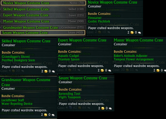 Weaponsmith Weapon Costume Crates