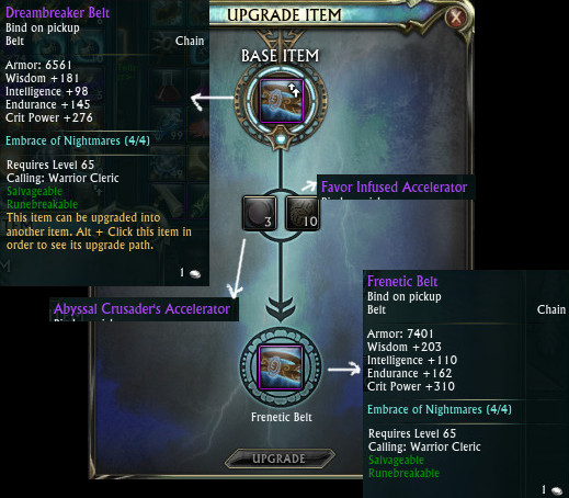 Dreambreaker Belt Cleric Upgrade Frenetic Belt