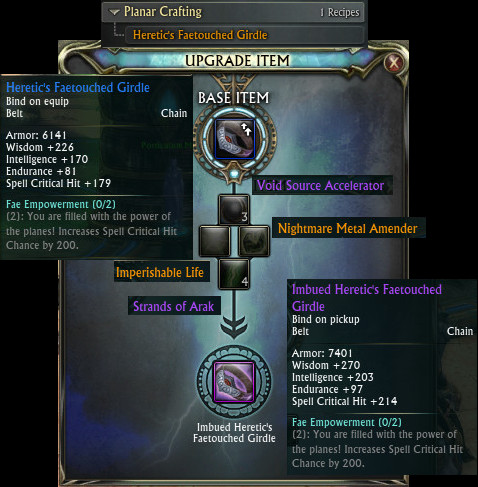 Heretic's Faetouched Girdle Upgrade Full PTS