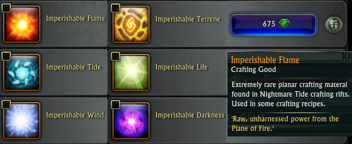 Imperishable Relic Craft Components PTS