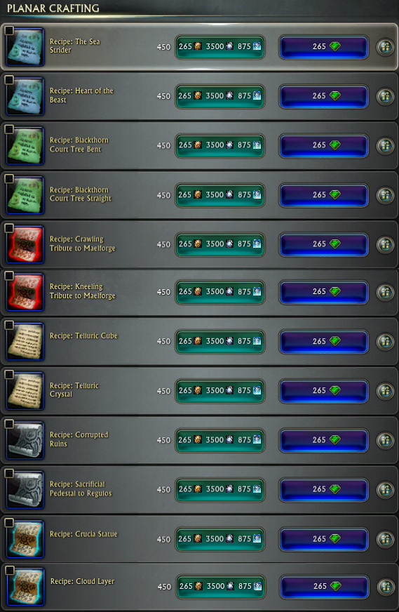Planar Crafting Dimension Recipes Updated PTS