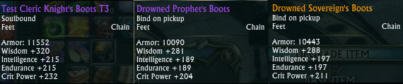 Test Cleric Knight's Boots T3 Comparison