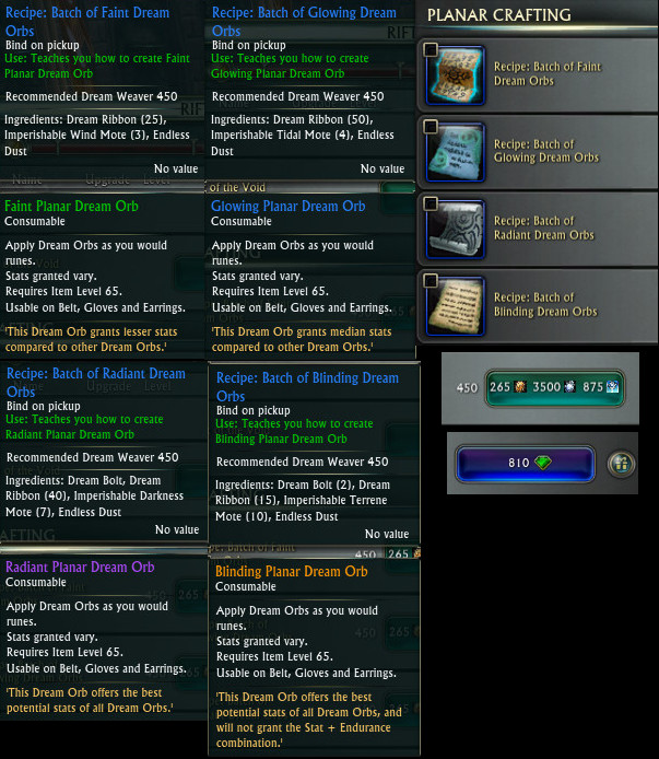 3.4 Dream Weaver Dream Orb Recipes PTS