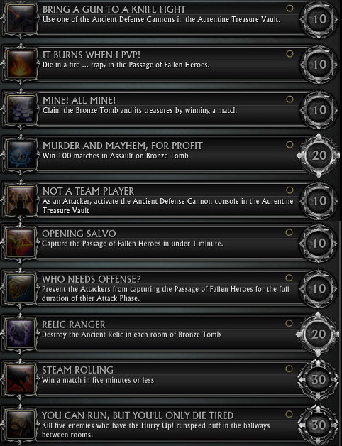 Assault on Bronze Tomb Achievements PTS 30th July 2015