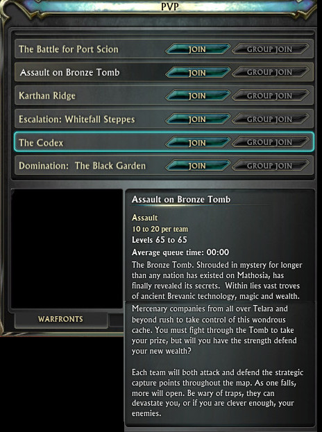 Assault on Bronze Tomb Warfront Tooltip PTS