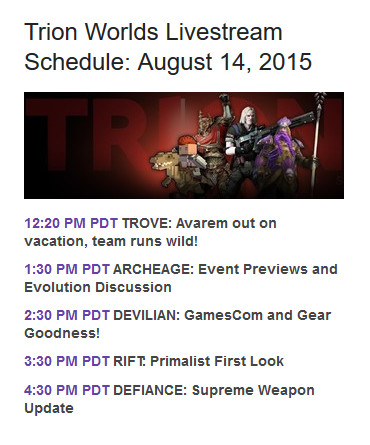 Trion Livestream Schedule August 14th 2015