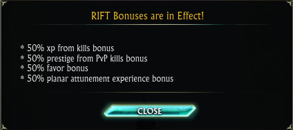 50% RIFT Weekend Bonus