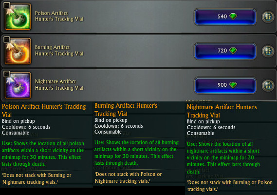 Poison Burning Nightmare Artifact Hunter's Tracking Vials