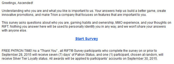 RIFT Survey Sept 2015