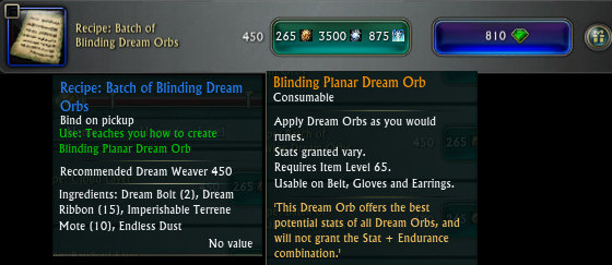 Blinding Planar Dream Orb Recipe PTS