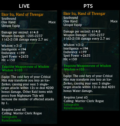 Ice Zerker Proce Change Ekor Ira Hand of Threngar PTS