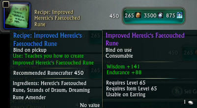 Improved Heretic's Faetouched Rune Recipe PTS