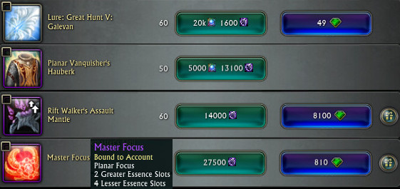 RIFT Currency Conversion Void Stone Gear