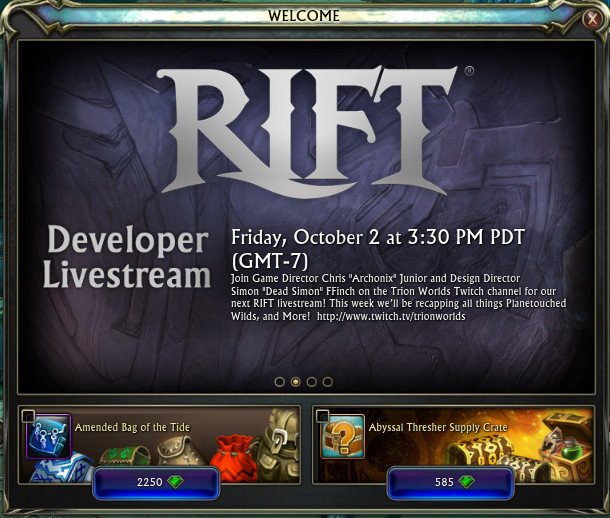 RIFT Welcome Window PTS Livestream Info
